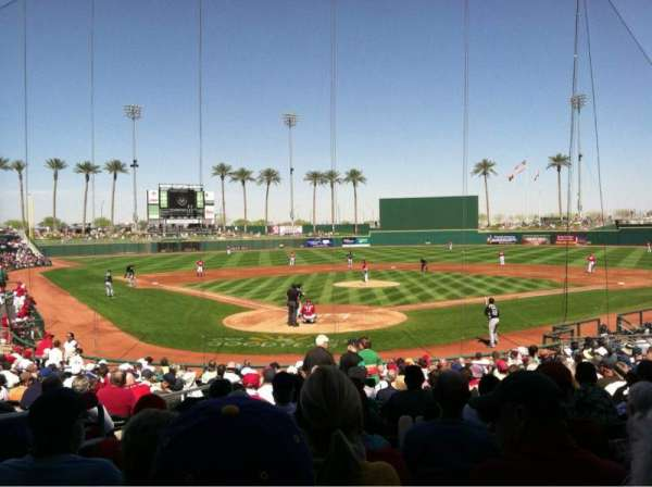 Goodyear Ballpark, section: 114, rangée: W, siège: 3