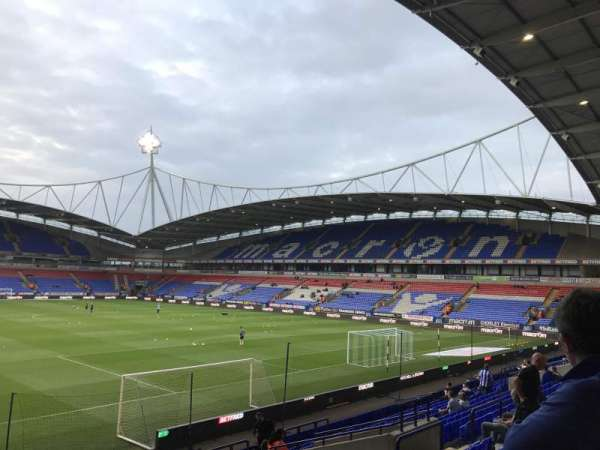University of Bolton Stadium, section: South stand lower, rangée: T, siège: 33