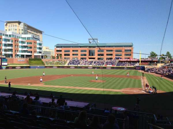 Durham Bulls Athletic Park, section: 205, rangée: R, siège: 1