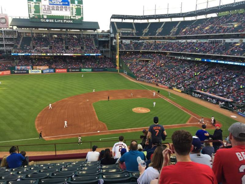 Globe Life Park in Arlington, section: 218, rangée: 10, siège: 10